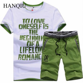 [globalbuy] T Shirts + Shorts Brand Clothing Tshirt Men Homme Letter Printed Sportswear Se/4215595