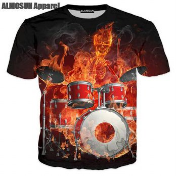 [globalbuy] ALMOSUN Fire Skull Paly Drums 3D All Over Print T Shirts Short Sleeve Hipster /4215584