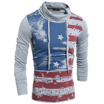 [globalbuy] 2015 Summer Mens Turtleneck T-Shirts American Style US Flag Printed T-shirt Fo/4215561