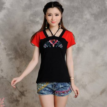 [globalbuy] Vintage 70s ethnic red black patchwork embroidery festival tribe t shirt for w/4222175