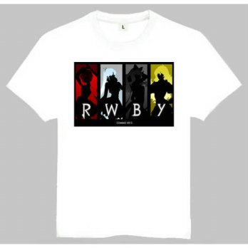 [globalbuy] Anime RWBY Print T-Shirt Tops Tees Men Women Anime White Shirt RWBY Logo Tees /4215531