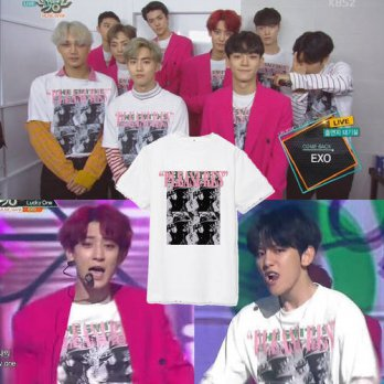 [globalbuy] KPOP EXO K M Album EXACT CHAN YEOL T Shirt K-POP 2016 Fashion Classic Cotton C/4222166