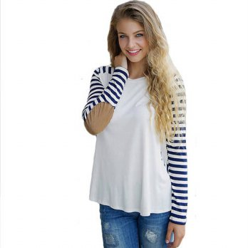 [globalbuy] White blusas female casual striped t shirt women long sleeve patches tops Autu/4222165