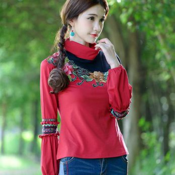 [globalbuy] Vintage red turtleneck long sleeve embroidery pullovers for women M L XL 2XL 3/4222146