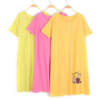 [globalbuy] Summer Pajamas Homewear Sleep Leisure Wear Super Loose Plus Size Oversize Medi/4222145