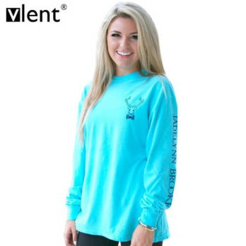 [globalbuy] Vlent Cute Print Elk Pattern T-Shirt Blue Autumn O-Neck Long Letter Sleeve T S/4222116