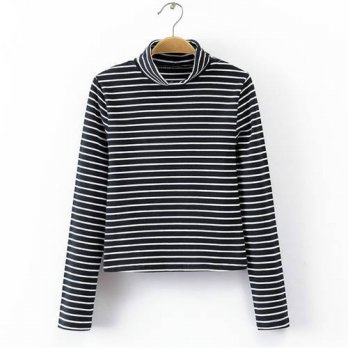 [globalbuy] Women Striped High Neck Long Sleeve Crop Tops Shirt In Body Conscious Design/4222088