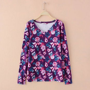 [globalbuy] Plus Size Women Floral Print Cotton Long Sleeve Sexy V-neck Tshirt Tee Shirt S/4222162