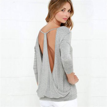 [globalbuy] 2016 Autumn New Casual Fashion T Shirt Elegant Sexy Loose Basic Backless Split/4222148