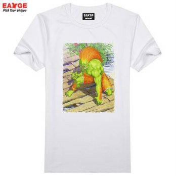 [globalbuy] Street Fighter Blanka T Shirt Video Game Character Water Paint T-shirt Cool No/4215507