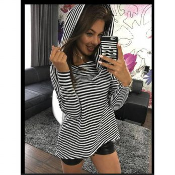[globalbuy] BKLD New Fashion Autumn Women Long Sleeve Loose Causal Funny Tshirts Ladies Ch/4222137