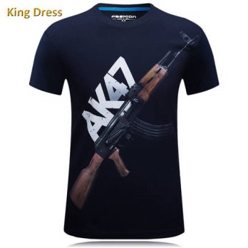 [globalbuy] Man T-shirt Promotion Good Quality Big Size S-6XL Summer New Amy Military Ak47/4215497