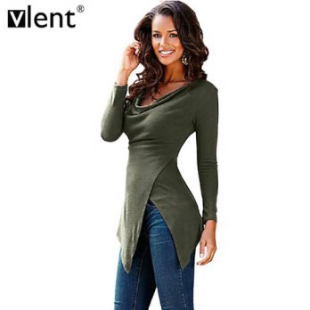 [globalbuy] Vlent Fitness Long drapped O-Neck Tops For Autumn T-Shirt Long Sleeve Women As/4222128