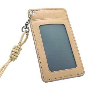 ID Card Holder - Beige Leather Necklace Card Wallet Card Wallet ID Card, The Card Holder ID Card Holder Card Holder Necklace Neck