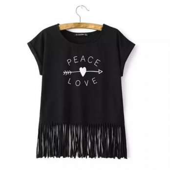 [globalbuy] Women arrow heart print fringe T shirt PEACE & LOVE letters tops sleeveless ta/4222077