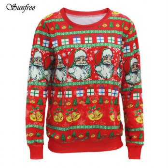 [globalbuy] Sunfree 2016 New Fashion Women Long Sleeve Pullover Sweatshirt Santa Claus Chr/4222057