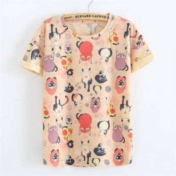 [globalbuy] New style fashion Cartoon cat Harajuku print 2016 High-quality cotton Linen t /4222052