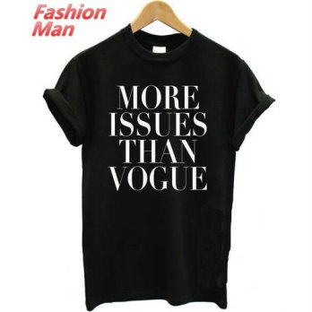 [globalbuy] More Issues Than Vogue Print Men T shirt Fashion Casual Shirt For Man White Bl/4215447