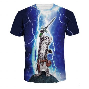 [globalbuy] 2016 New Lightning cat 3D T shirt breathable fearless shirt mens round neck Te/4215418