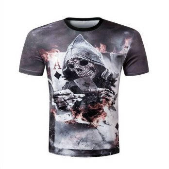 [globalbuy] Men t-shirts Novelty Funny Comics Character Joker With Poker 3d T-shirt Men Su/4215411