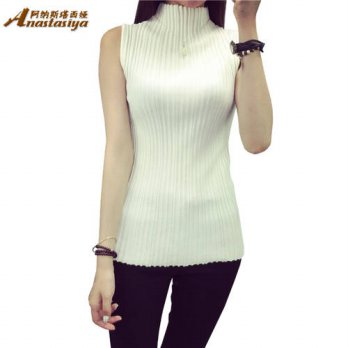 [globalbuy] Womens High-necked Sleeveless Vest Bottoming Shirt Super Stretch knitted T-shi/4221964