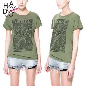 [globalbuy] India Tiger Stamp Stamp Army Green T-shirt Tee for Girl Women/4221963