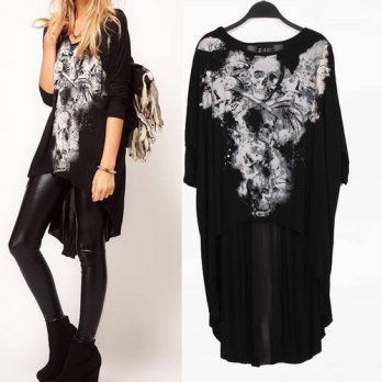 [globalbuy] XJ151998 New Fashion Ladies Elegant T-Shirts Skull Dovetail Rock Long-Sleeved /4221939