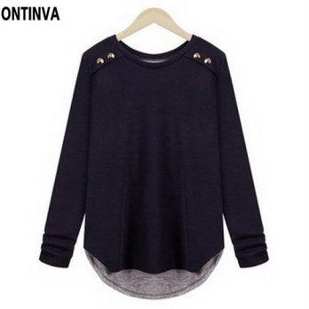 [globalbuy] Autumn New long sleeve T shirt Women Clothing Navy Oversized XL XXL 3XL 4XL It/4222036