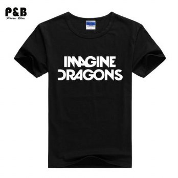 [globalbuy] 2015 New Men T shirt IMAGINE DRAGONS Letters Print Cotton Lycra Casual Funny S/4215397