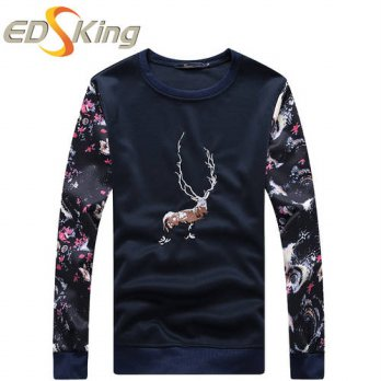 [globalbuy] New Spring 2016 Mens T Shirts Deer Print Fashion O-Neck Slim Fit Long Sleeve T/4215373
