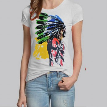 [globalbuy] 2015 New Fashion Brand Indian Head Print T Shirt Women Short Sleeve O-neck Cot/4221977