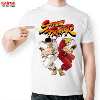 [globalbuy]  Cool Street Fighter Game T Shirt Fashion Style Brand White Short Sleeve T-shi/4215344