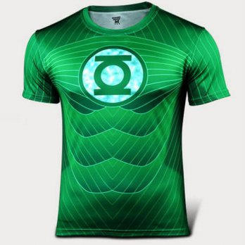[globalbuy] Marvel Super Hero Captain America Batman Green Lantern T shirt Men Base Layer /4215334