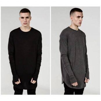 [globalbuy] fashion brand kanye Long Sleeve Thumb Hole Cuffs Tyga Swag Style men High Low /4215321