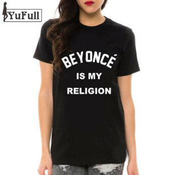 [globalbuy] BEYONCE IS MY RELIGION 2016 Summer Black T-Shirts Letter Print Camisetas Femin/4221918