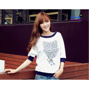 [globalbuy] Blusas 1PC Spotted owl Pattern Long Sleeve Round Neck Top T-Shirt/4221915