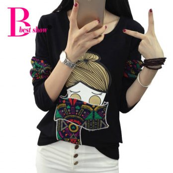 [globalbuy] Embroidery T Shirt Women Autumn 2016 Long Sleeve Cartoon Print T-shirt Cotton /4221912