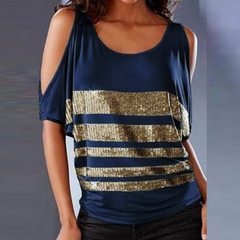 [globalbuy] Fashion T Shirt Women 2016 Summer Ladies Off Shoulder Sequins Round Neck T-Shi/4221937