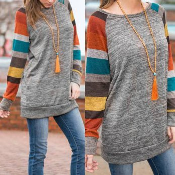 [globalbuy] 2016 Autumn Vintage Women T shirt Long Sleeve T shirt Striped Patchwork Loose /4221926