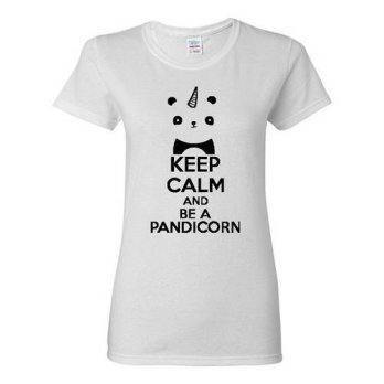 [globalbuy] Ladies Keep Calm And Be A Pandicorn T-Shirt Tee/4221908