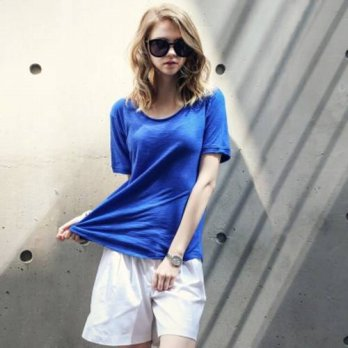 [globalbuy] summer style 2016 new Europe fashion women t shirt bamboo cotton tops round ne/4221862