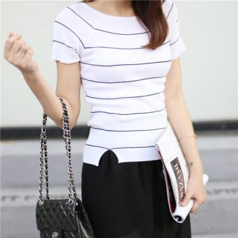 [globalbuy] Womens Tshirt 2016 Summer Korean short in front long split large stretch knit /4221860