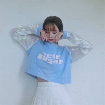 [globalbuy] Japanese Autumn New Fashion Letter Printed Women T shirt Patchwork Sweet Crop /4221838