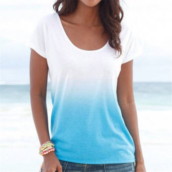 [globalbuy] Newly Design Leisure Gradient Blue Short Sleeve Round Neck T-Shirt Summer Clot/4221833
