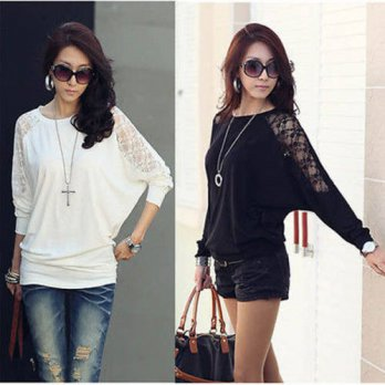 [globalbuy] NEW Womens Ladies Batwing Loose tee Top T-Shirt Dolman Lace Long Sleeves XXL 2/4221892