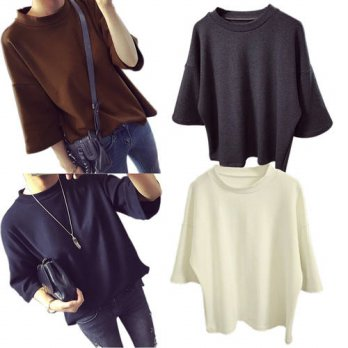 [globalbuy] 2016 New Korean Women Casual 3/4Sleeve Sexy Fit Vogue Chic Stylish T-Shirt Top/4221866