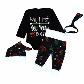 1Set Infant Baby Boy Girl Clothes Romper Pants Leggings 4PCS New Year's Outfits