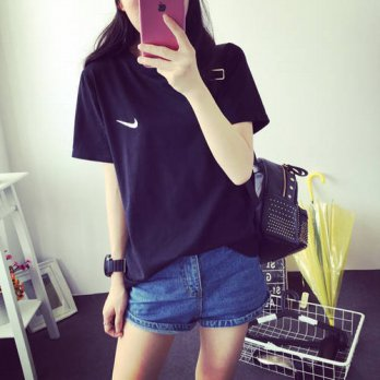 [globalbuy] 2016 Sale 18 Color S-3XL Plain T Shirt Women Cotton Solid Basic Tshirt Woman T/4221804