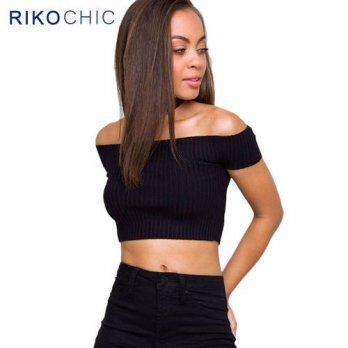 [globalbuy] Women Knitted Slash Neck Slim Fitness Off Shoulder Crop Tops Cotton Striped Bl/4221798