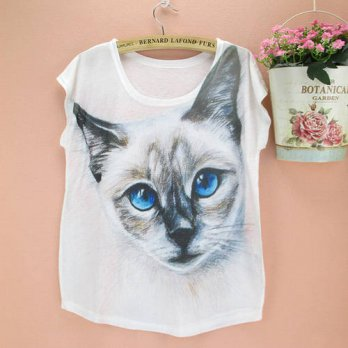[globalbuy] 3D Cat print tees for women 2016 the Western fashion printing summer dress gir/4221785